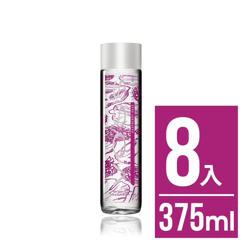 VOSS挪威芙絲 覆盆莓玫瑰風味氣泡礦泉水8入x375ml(時尚玻璃瓶)