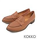 KOKKO -英倫學院牛皮樂福平底鞋 - 大地棕