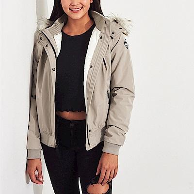 海鷗 Hollister 年度熱銷經典標誌厚刷毛保暖風衣外套(女)-卡其色