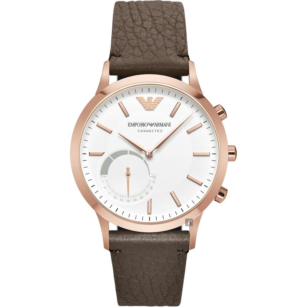 Emporio Armani Connected Hybrid 智慧型腕錶-玫瑰金框x咖啡