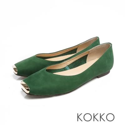 KOKKO - 漫步澄花大道金屬真皮方頭鞋-森林綠