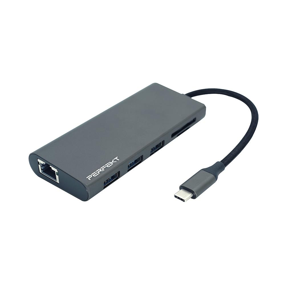 PERFEKT 9合1多媒體影音 USB-C 3.1轉HDMI+ VGA+USB3.1*3+充電+乙太網路+SD/TF讀卡機,全功能擴充轉接器(HUB) - PT-50110