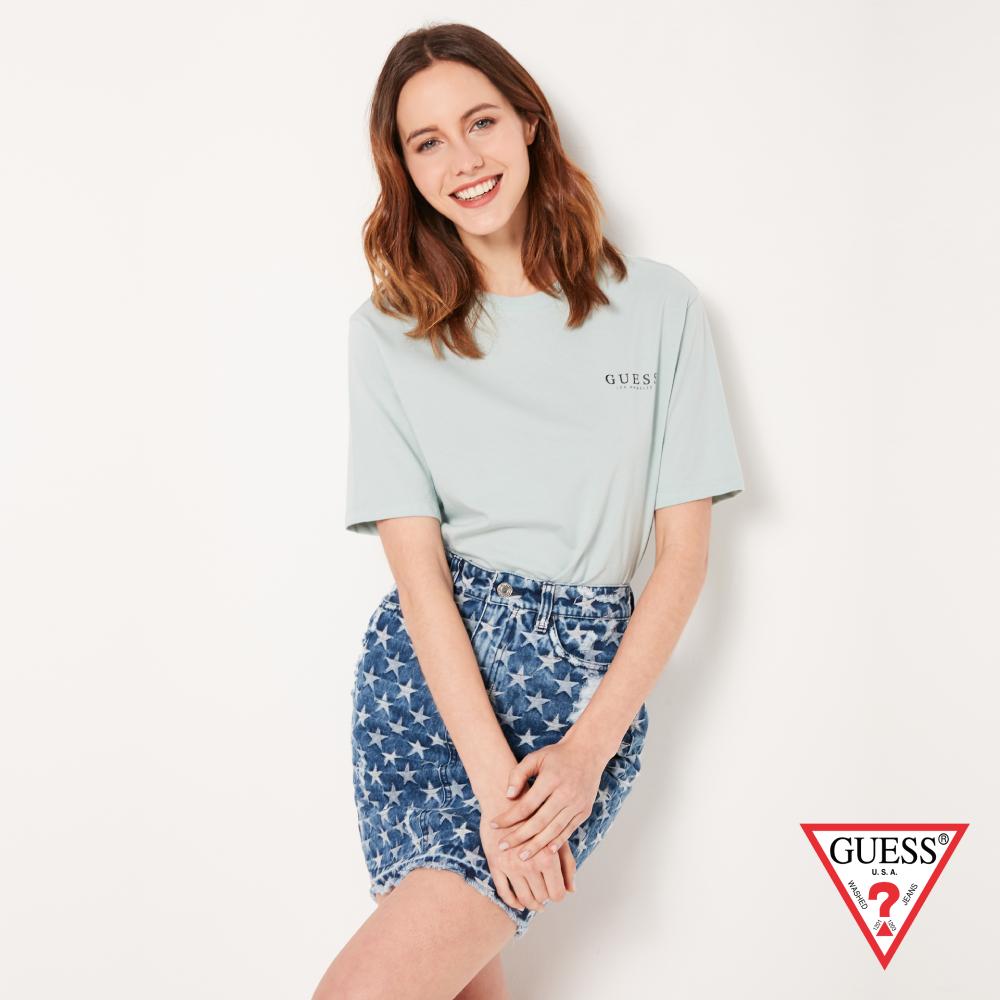 GUESS-女裝-純色背部經典雙LOGO短T,T恤-藍綠 原價1290