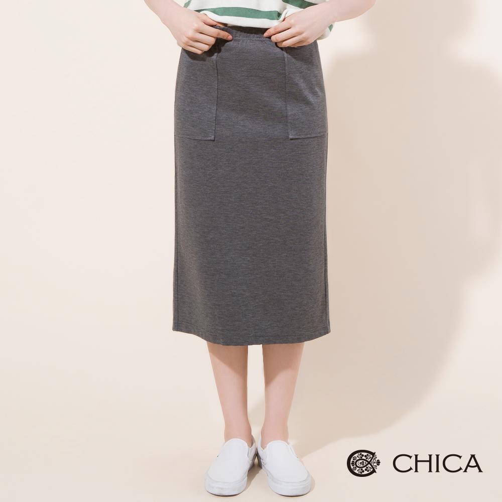 CHICA 率性女孩後開衩直筒中長裙(2色)