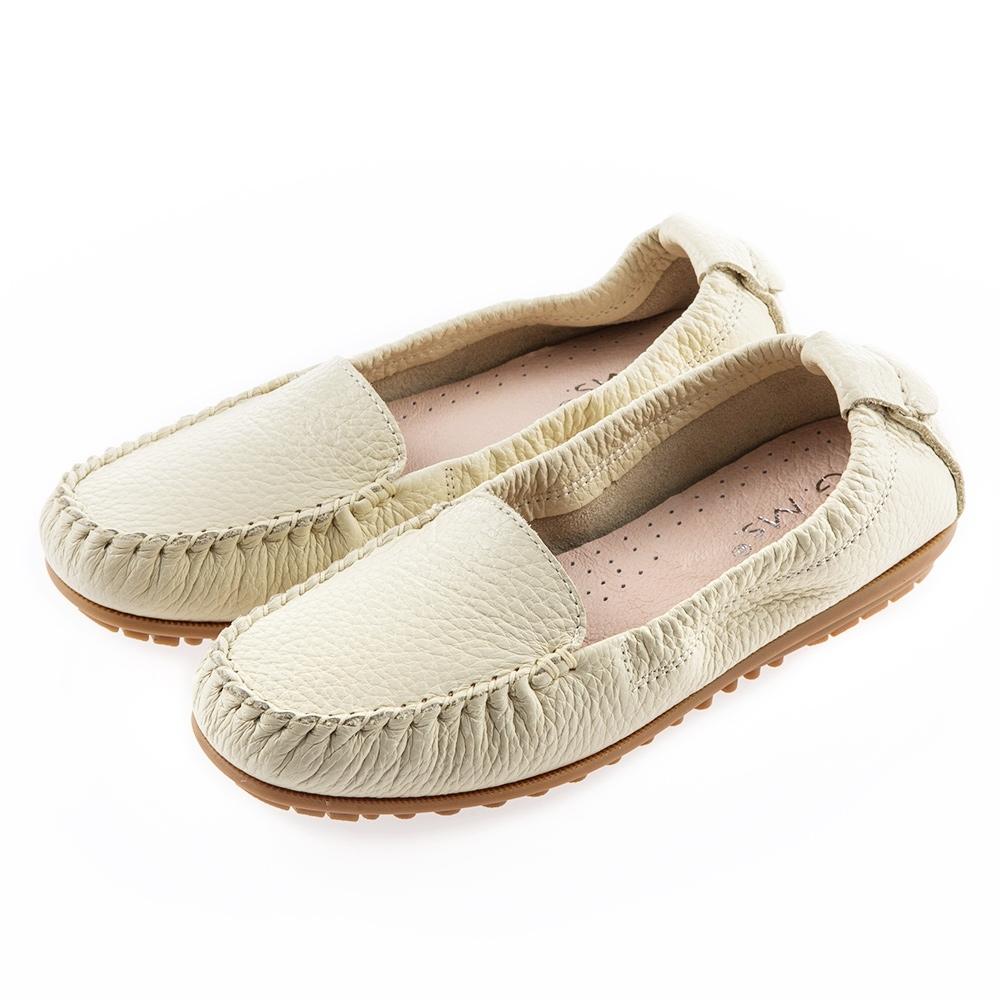 G.Ms. MIT系列-厚實牛皮莫卡辛休閒鞋-米白
