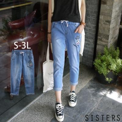 韓國卡通電繡輕薄牛仔褲(S-3L) SISTERS