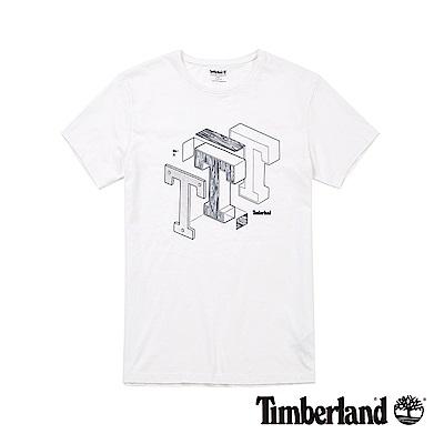 Timberland 男款白色手繪印花短袖T恤|A1M1A