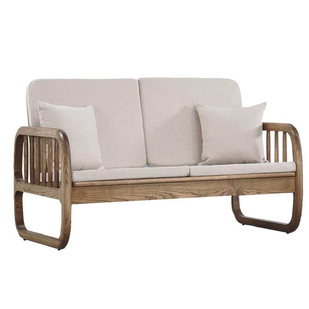 文創集 芬亞典雅曲木亞麻布實木二人座沙發椅-138x81x88cm免組