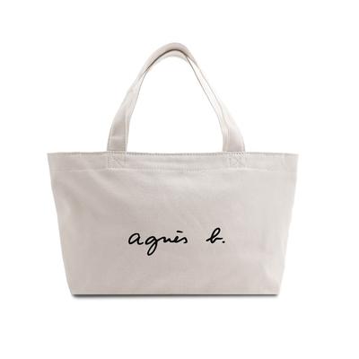 agnes b. Voyage 經典logo帆布手提包(奶茶色)