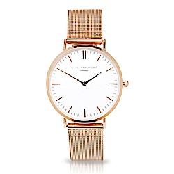 Elie Beaumont 英國手錶 牛津米蘭錶帶 白錶盤X玫瑰金色錶帶錶框33mm