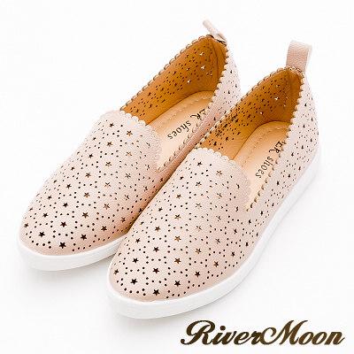 River&Moon大尺碼-韓國尖頭皮革激光洞洞質感懶人鞋-粉