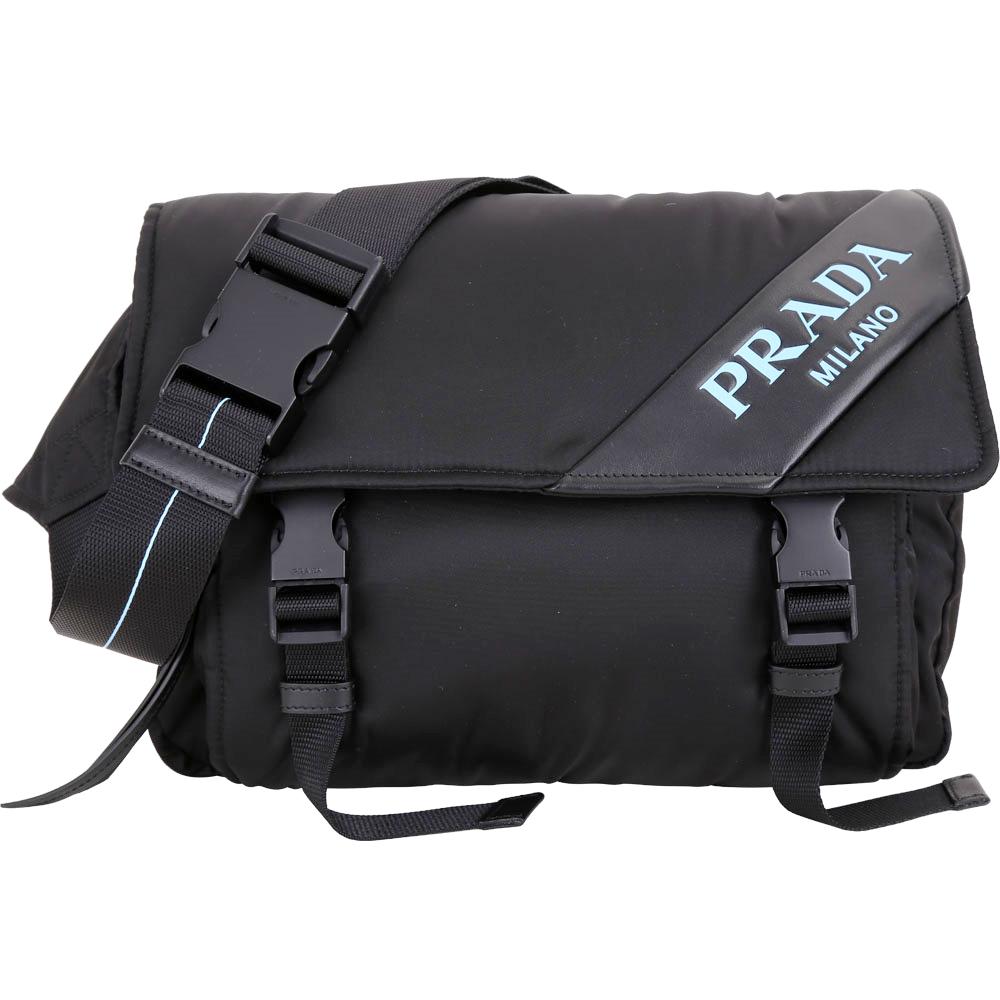 PRADA Mirage 字母皮革雙釦尼龍胸背/腰包(黑色)PRADA