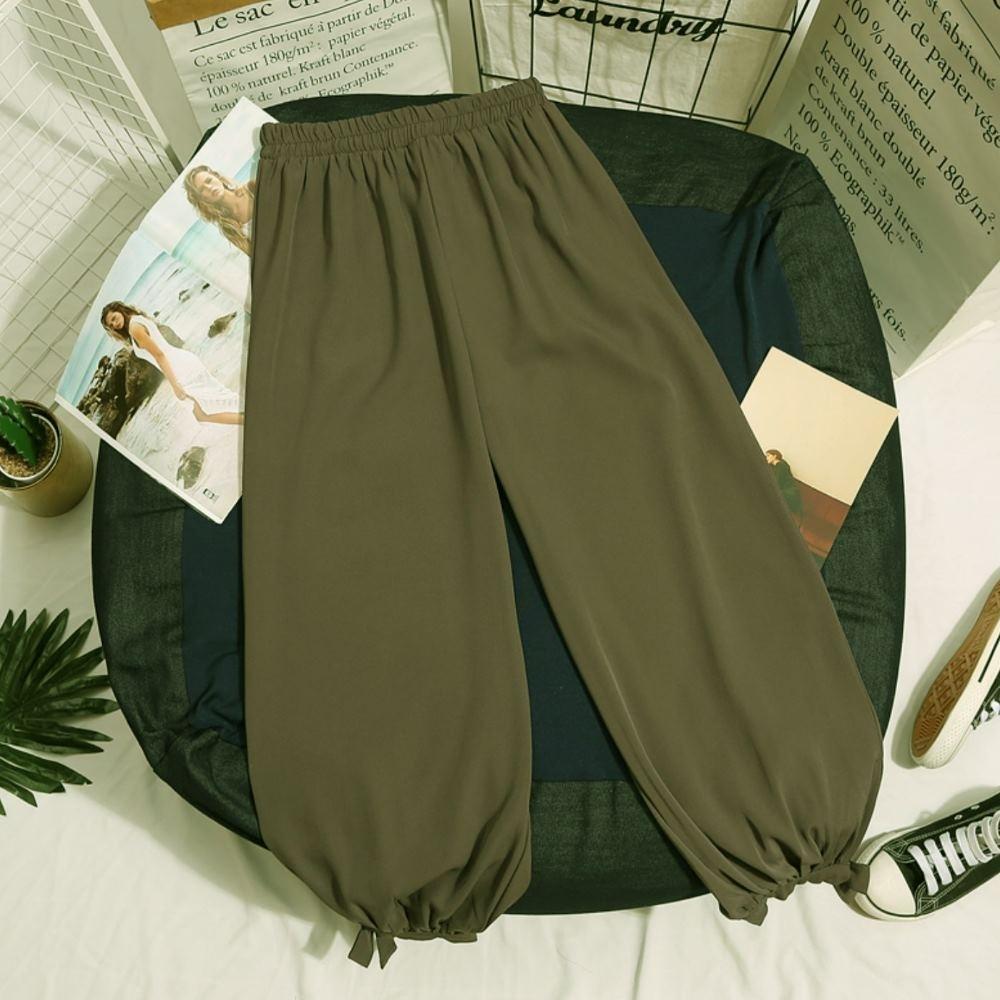 La Belleza素面鬆緊腰褲口鬆緊蝴蝶結燈籠褲 product image 1