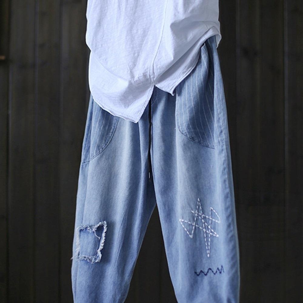 寬松破洞刺繡條紋純棉牛仔哈倫九分褲-設計所在