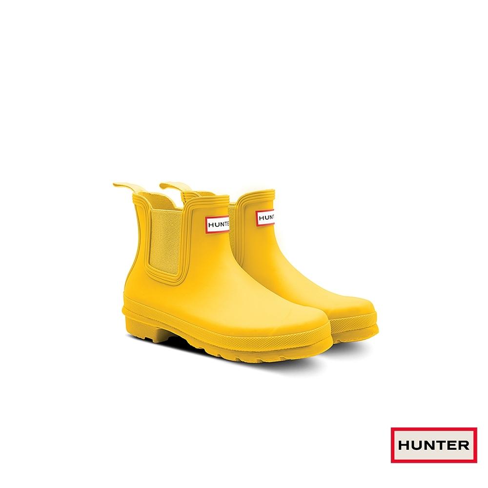HUNTER - 女鞋 - 新版切爾西霧面踝靴 -黃色