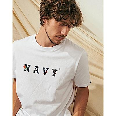 NAVY-MIT品牌玫瑰設計短T-情侶款(兩色)-男【SNA113】