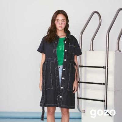 gozo 單排釦粗壓線綁帶襯衫洋裝(深藍)
