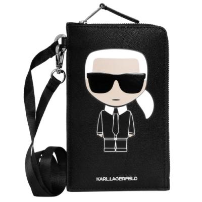 KARL LAGERFELD  K Ikonik 經典老佛爺圖案皮革卡片手機袋