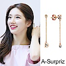 A-Surpriz 裴秀智款純925銀D鑽直線耳環(玫瑰金)