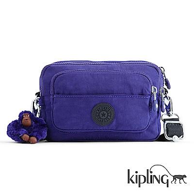 Kipling 斜背包 靛紫素面-小