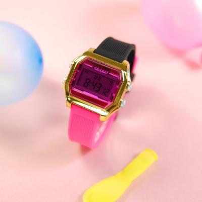 I AM 電子液晶 繽紛色彩 錶帶自由搭配 矽膠手錶-桃紅x金x銀 33mm