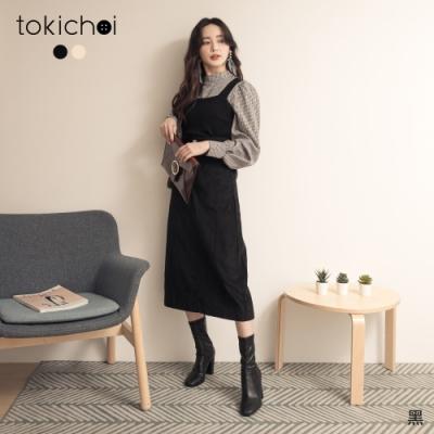 東京著衣 時髦甜心格紋蓬蓬袖襯衫X針織背心真兩件式上衣(共二色)
