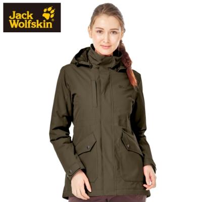 【Jack wolfskin 飛狼】女 長版修身 防風防潑水保暖外套 (蓄熱鋪棉)『深棕』