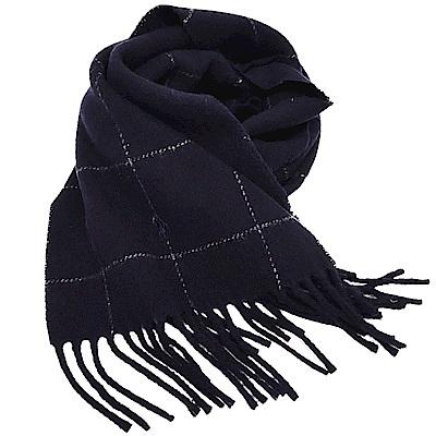 RALPH LAUREN POLO 義大利製小馬刺繡雙面配色格紋羊毛圍巾(深藍色)