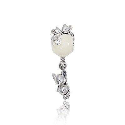 Pandora 潘朵拉 白色氣球小老鼠鑲鋯 垂墜純銀墜飾 串珠