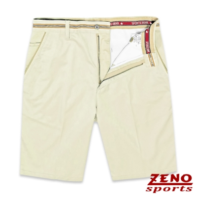 ZENO 彈力暗直紋假腰帶活力短褲‧淡卡其