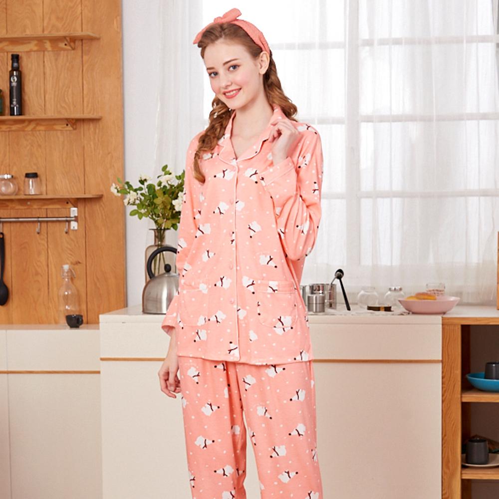 睡衣 冬季北極熊 針織棉長袖兩件式睡衣(R77210-15粉橘) 蕾妮塔塔