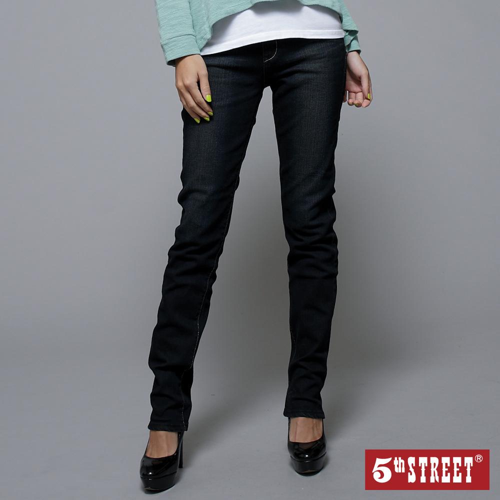 【5th STREET】微風飛舞 取線高腰窄直筒牛仔褲-女款(酵洗藍)