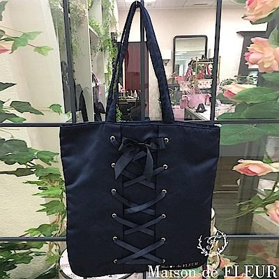 Maison de FLEUR 光澤感繫帶造型手提包