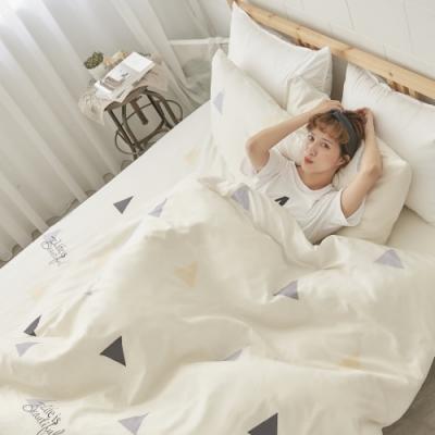 BUHO 天然嚴選純棉雙人加大三件式床包組(乘風日禾)