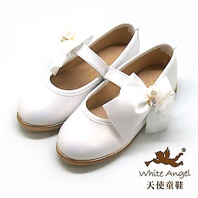天使童鞋 珍珠花蕊蝴蝶結公主鞋(中-大童) J8008-白