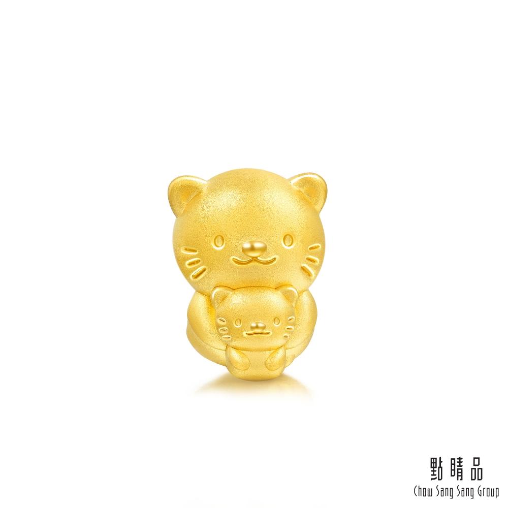 點睛品 999純金 Charme 溫情的擁抱-母子貓咪 黃金串珠