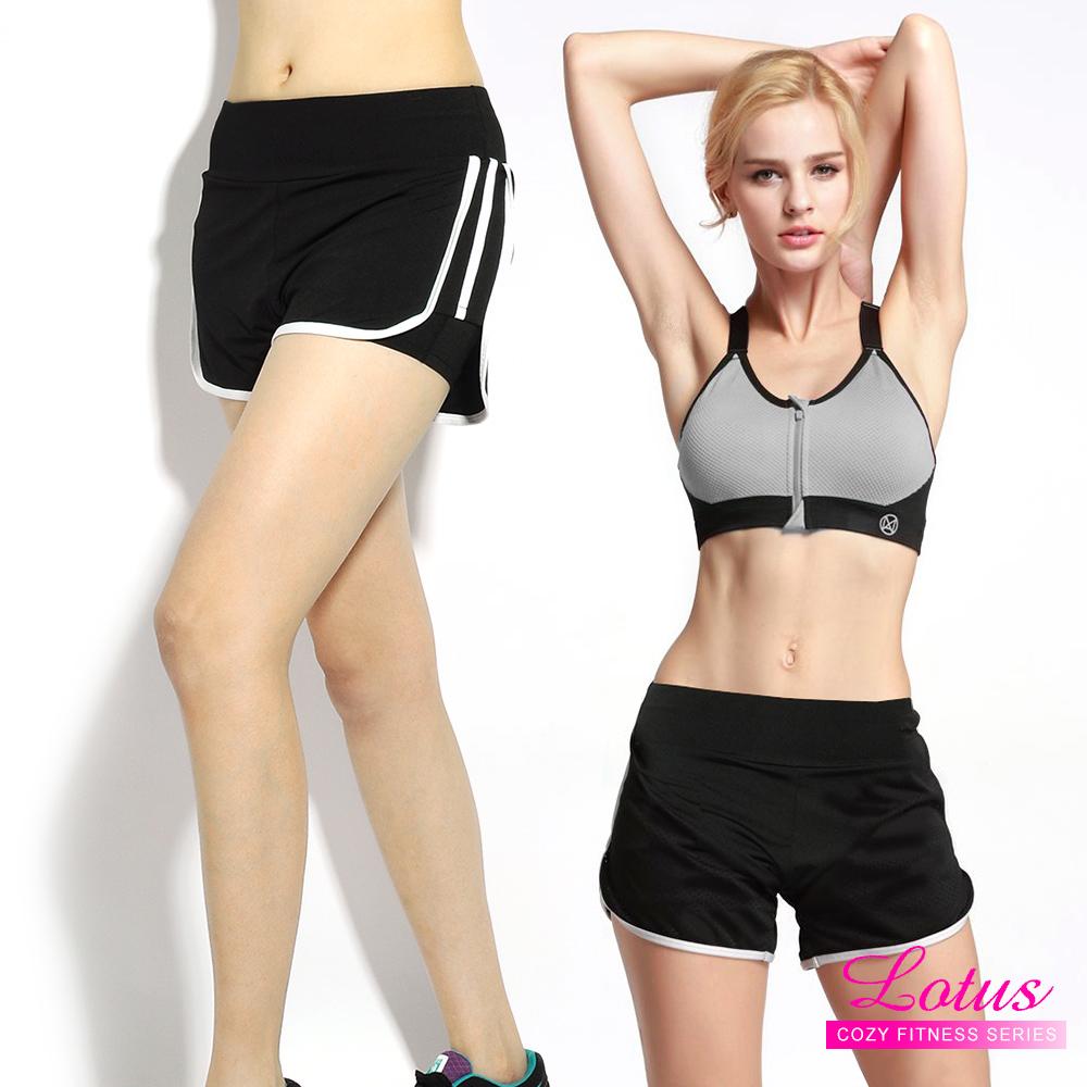 運動褲 雙層防走光玩色拼接彈力速乾運動短褲 率性白 LOTUS