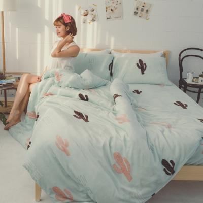 BUHO 極柔暖法蘭絨兩用毯被床包雙人特大四件組(薄荷綠洲)