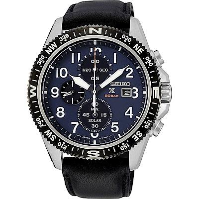 SEIKO 精工 太陽能計時真皮手錶-SSC737P1-藍X黑/44mm