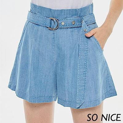SO NICE俏麗造型腰帶牛仔短褲