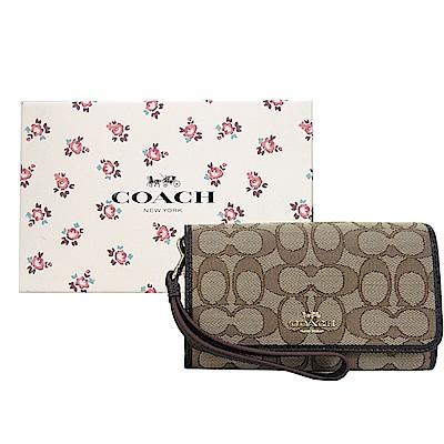 COACH 專櫃款緹花織布翻蓋手掛式手拿包(禮盒組)(卡其咖)
