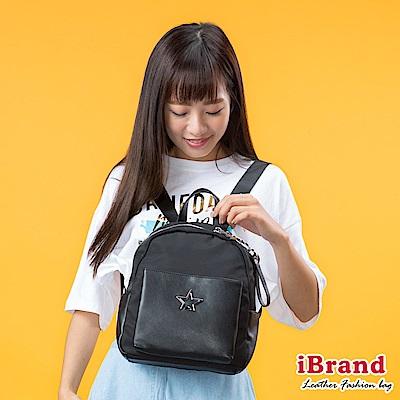 iBrand後背包 簡約真皮STAR口袋後背包-黑