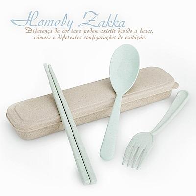 Homely Zakka 麥趣食光健康環保小麥隨身餐具組(森林綠)
