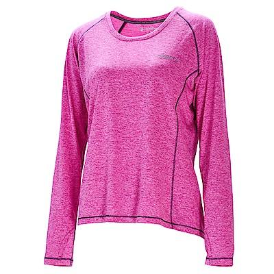 荒野【wildland】女圓領雙色抗UV長袖上衣紫紅色