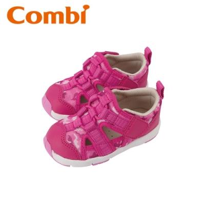 日本Combi童鞋 活力迷彩幼兒機能涼鞋-薔薇粉