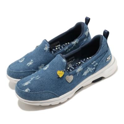 Skechers 休閒鞋 Go Walk 5 套入式 健走 女鞋 單寧 徽章 穩定 緩震 郊遊 踏青 藍 銀 124212DEN