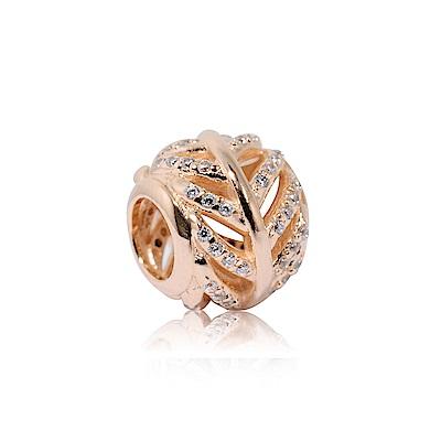 Pandora 潘朵拉 玫瑰金鑲鋯羽毛造型 純銀墜飾 串珠