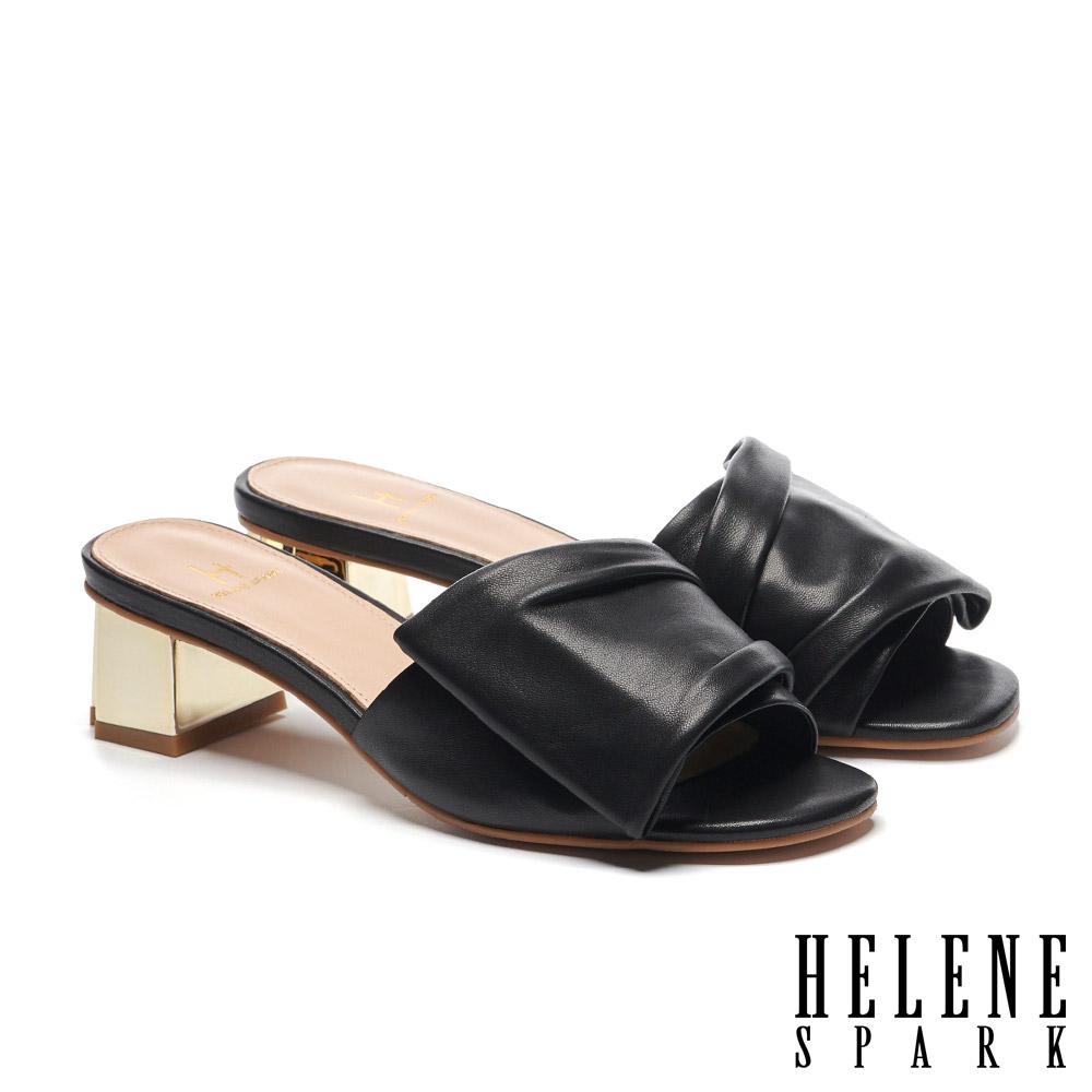 拖鞋 HELENE SPARK 時尚抓皺感全真皮金屬粗方跟拖鞋-黑