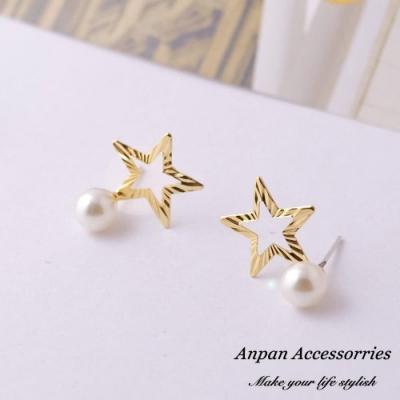 【Anpan 愛扮】韓東大門REINA星星小珍珠925銀針耳釘耳環