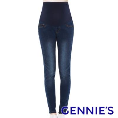 Gennies奇妮-刷色修身彈性窄管牛仔褲-藍(T4E03)